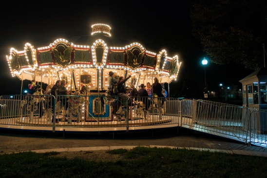 A Carousel on a dark night in Boston Common
