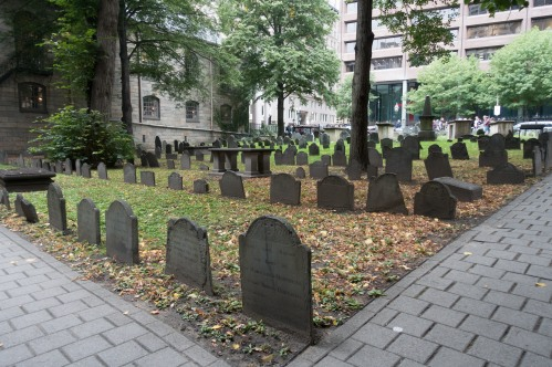 Thousands of headstones mark over 5,000 bodies buried in the Granary burying ground.  The headstones are packed closely together and some barely stand up any longer.  This can be found along the Boston Freedom Trail at the Granary Burying Ground