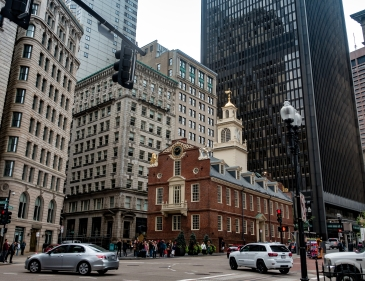 The Old State House along the Freedom Trail in Boston, Massachusetts.