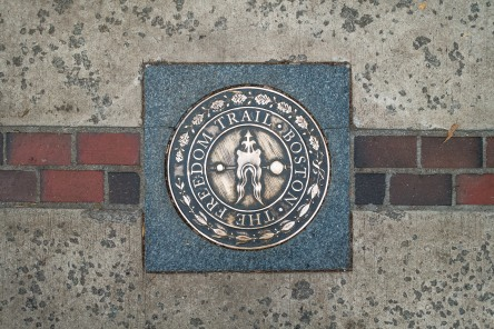Plaque marking the Boston Freedom Trail