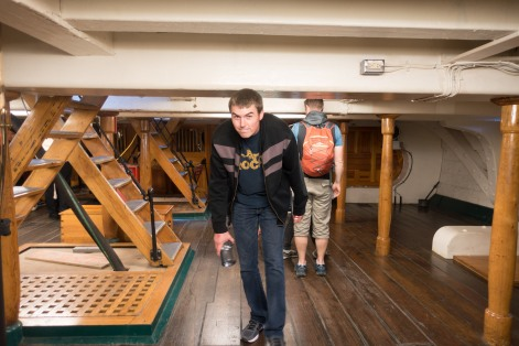 The ceilings on the lower decks of the USS Constitution force any tall person on board to duck.  The USS Constitution can be found in the Charlestown Navy Yard along the Boston Freedom Trail