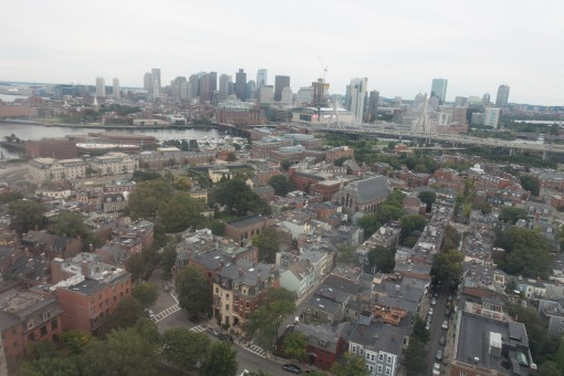 The view of Boston from the top of the Bunker Hill Monument.  The Bunker Hill Monument can be found along Boston's Freedom Trail