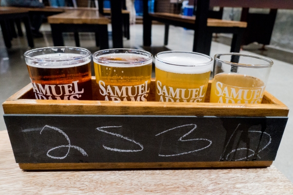 Beer Flight at the Sam Adam's Tap Room