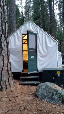 A canvas tent available to reserve at Half Dome Village in Yosemite National Park in California