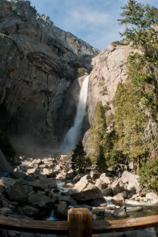 Yosemite Falls in Yosemite National Park in California.  A fully flowing waterfall on a clear winter day.