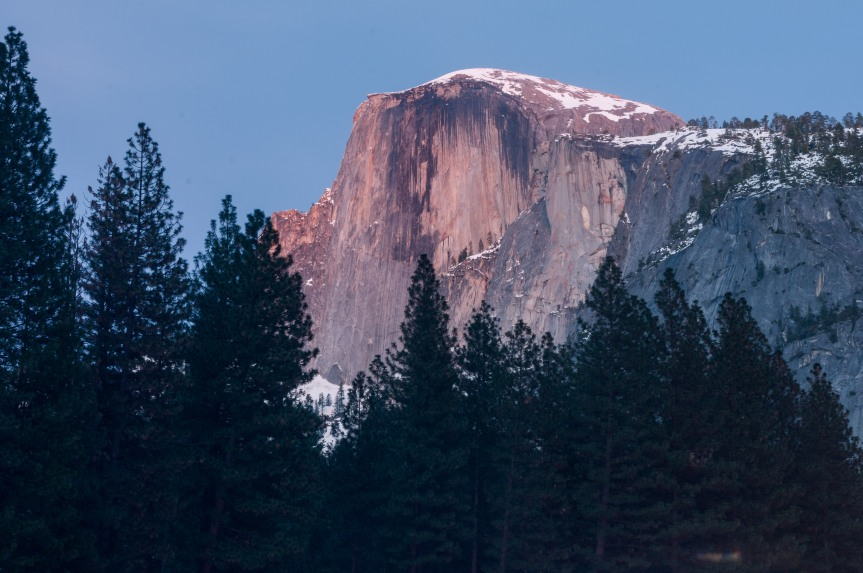 Half Dome at Yosemite National Park in the United States at Sunset