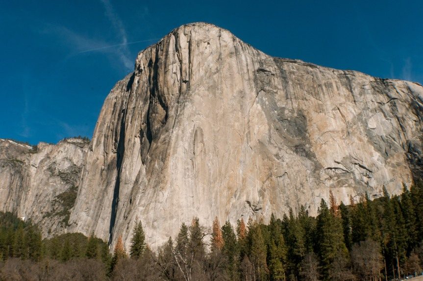 El Capitan in Yosemite National Park in California in the United States.  Large granite structure towering over all of Yosemite.