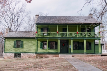 The Ulysses S. Grant National Historic Site in the suburbs of St. Louis Missouri. This bright green house was owned by Grant's in-laws, the Dents, and later purchased by Grant.   Greetingsfromkelly. Greetings From Kelly. Kelly Blick