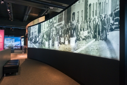 The Panoramas Exhibit at the Missouri History Museum in Forest Park in St. Louis, Missouri.  These large, black and white, rear-projected images are recreations of historic events as told in panoramic photos