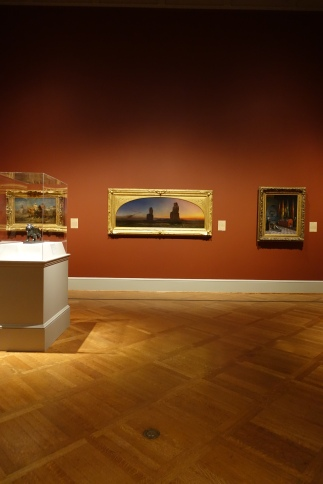 The St. Louis Art Museum on a peaceful day.  Beautiful sunset artwork in a bold gold frame.