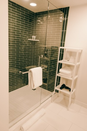 A spacious shower in our room at the Park MGM. I loved the green subway tiles! Greetingsfromkelly. Greetings From Kelly. Kelly Blick
