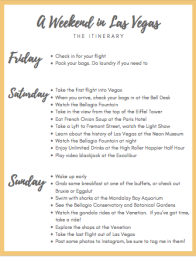 Free Downloadable Las Vegas Weekend Itinerary