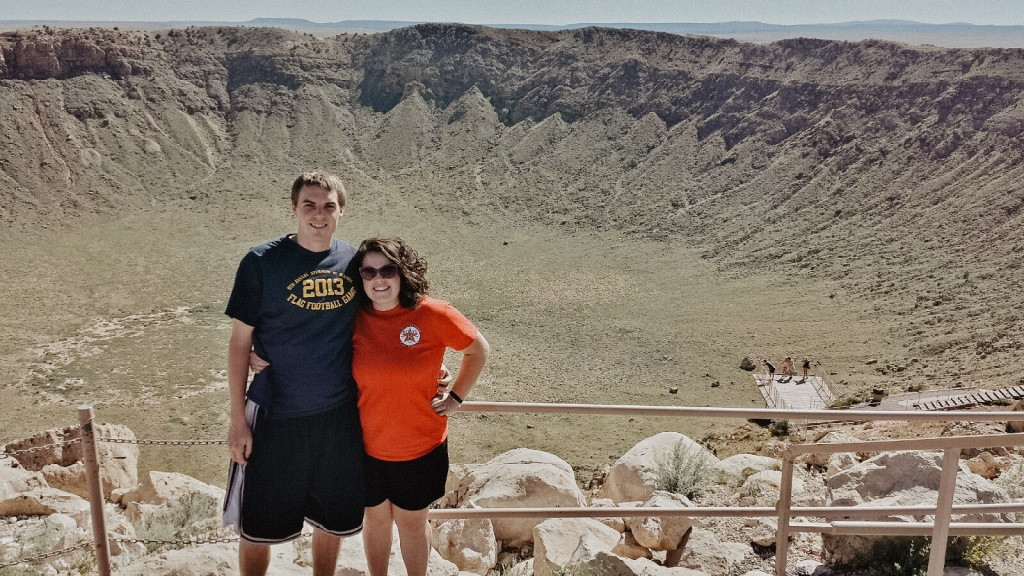 The view from the top of the Meteor Crater on Route 66