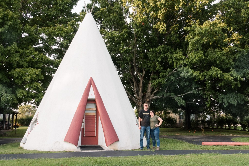 Us at the Wigwam Motel in Cave City, KY