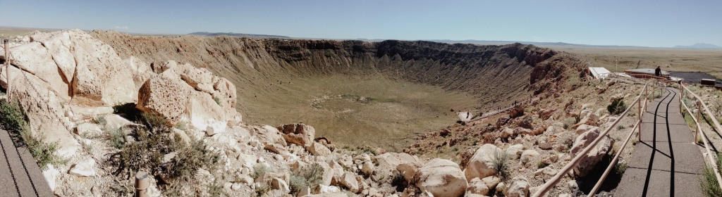 A Panoramic view of the Meteor Crater in Winslow Arizona
