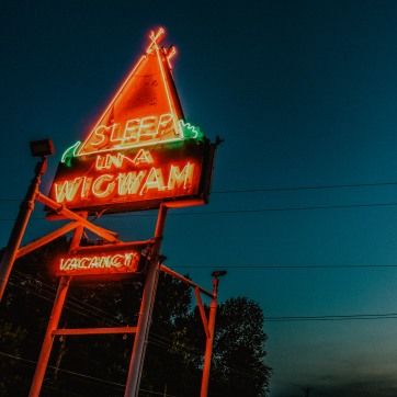 Neon sign at Wigwam Village in Cave City Kentucky