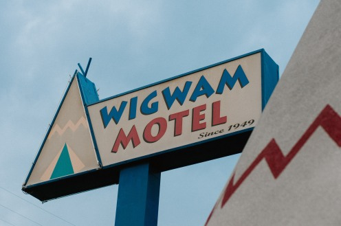 Wigwam Motel Sign at Village in Rialto California