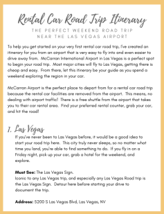 Rental Car Road Trip Itinerary Free Printable