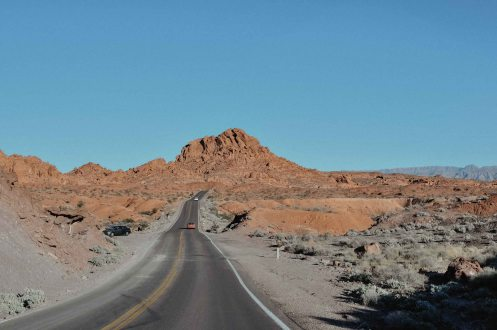 The Road to Valley of Fire State Park in Nevada on our Rental Car Road Trip